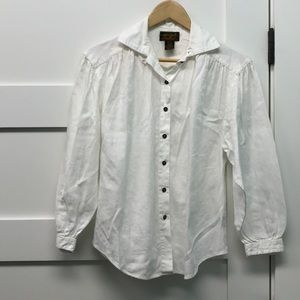Cotton button up white long sleeve patterned top